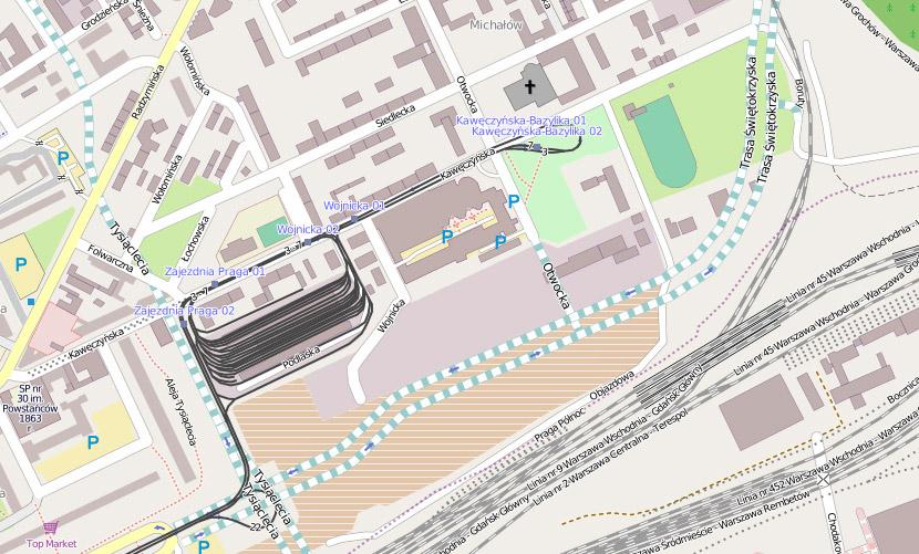 Orientacyjny przebieg trasy (źródło: OpenStreetMaps)